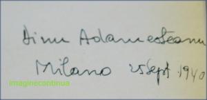 Dinu Adamesteanu, semnatura autografa.