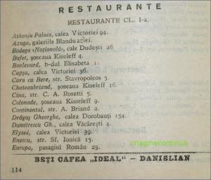Restaurante clasa I din Bucuresti in anul 1934
