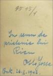 Dedicatie olografa Otto Josse din anul 1942