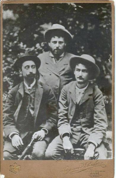 A.C. Cuza, Ion Creangă și N.A. Bogdan, Slănic Moldova, 1885.