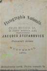 Sigla atelierului fotografic Jaques Stefanovics de pe Calea Mogosoi in anul 1875