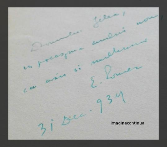 Dedicatie si autograf E.Lovinescu